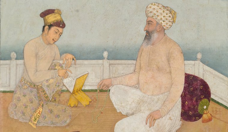 <em>Haji Nasir Listening to a Prince Reading</em>, By a Mughal artist c. 1650, with landscape added in Avadh in the 1770s