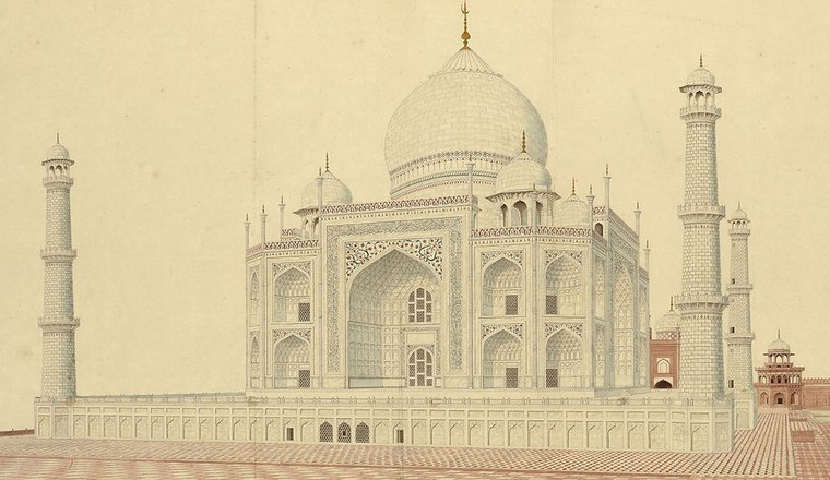 <em>View of the Taj Mahal from the South-West</em>, By an Agra artist, c. 1810–15