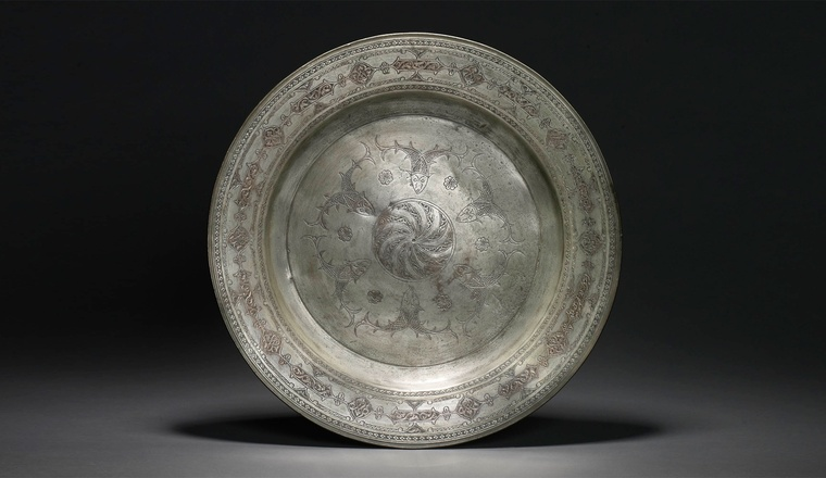 "<span class=""title"">A Deccani Tinned Copper Dish<span class=""title_comma"">, </span></span><span class=""year"">Deccan, dated 1676-77</span>"