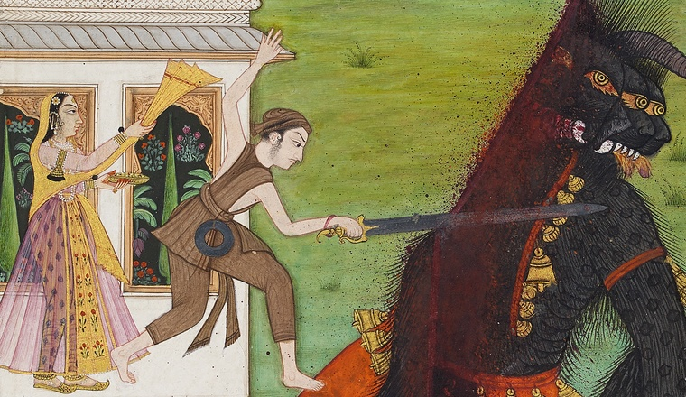 <em>The Prince rescues the Princess from the Demon, Page from a Deccani Urdu poem, the Gulshan-i 'Ishq by Nusrati</em>, India, Deccan, c. 1700