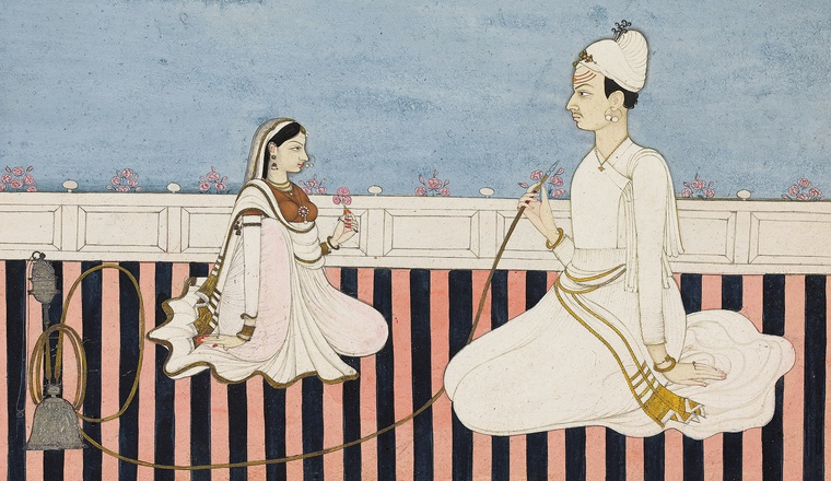 <em>A Prince smoking a Hookah with his Consort</em>, Bhoti, c. 1780