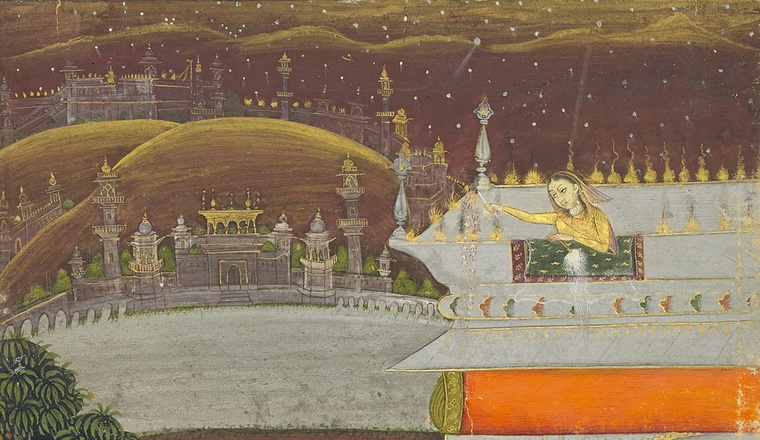 <em>The Night of Shab-barat - Ladies with Fireworks on a Terrace</em>, By the artist Mola Bagas, Bikaner, late 18th century