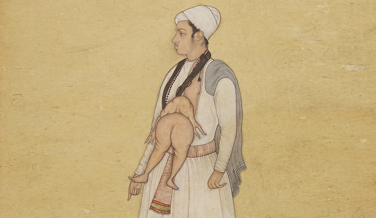 <em>A Late 17th century Mughal Album Page; Recto: A Man with a Conjoined Twin growing from his Stomach</em>, Mughal, late 17th century