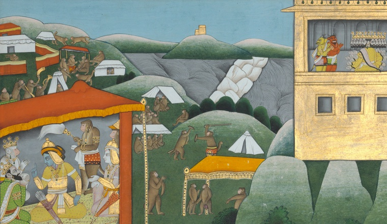 <em>Rama takes counsel with his allies as Ravana's spies return to Lanka Page from a Ramayana series</em>, Kangra, c. 1850