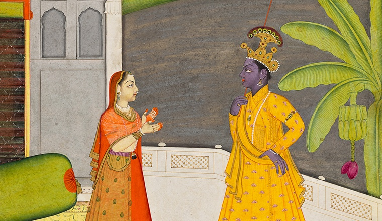 "<div class=""title""><em>Radha upbraids Krishna for going with other women; The Khandhita nayika from a Rasikapriya or Astanayika series</em></div><div class=""year""> Guler, c. 1750–60</div><div class=""medium"">Opaque pigments with gold on paper</div><div class=""dimensions"">Painting 20.8 × 15 cm Folio 27.9 × 20.2 cm</div>"