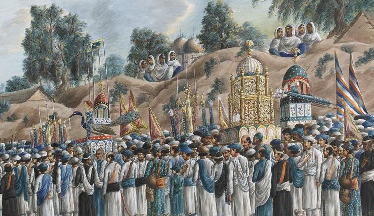 Muharram ritual procession paintings india