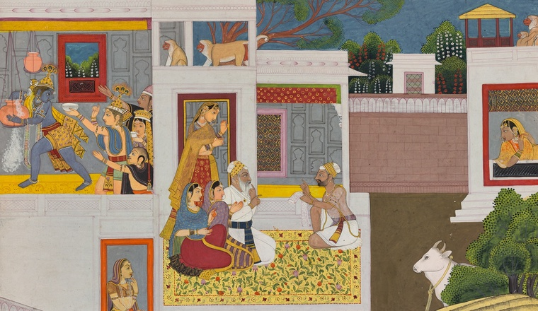 "<div class=""title""><em>Krishna stealing the Butter</em></div><div class=""year""> Bilaspur, c. 1770–80</div><div class=""medium"">Opaque pigments, gold and silver on paper </div><div class=""dimensions"">Folio 31.8 x 37.7 cm; painting 26.5 x 32.9 </div>"