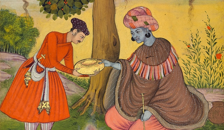"<div class=""title""><em>A Yogi offered a Gift</em></div><div class=""year""> Mughal style, perhaps at Bikaner, C.1620</div><div class=""medium"">Opaque pigments with gold on paper</div><div class=""dimensions"">Folio 24.2 x 18.3 cm; painting 19.2 x 13.8 cm </div>"