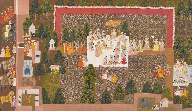 <div class=&#34;title&#34;><em>Maharana Sangram Singh celebrating the spring festival with his nobles in the rose garden in Udaipur</em></div><div class=&#34;year&#34;> Udaipur, 1715&#8211;20</div><div class=&#34;medium&#34;>Opaque pigments and gold on paper</div><div class=&#34;dimensions&#34;>Folio: 51 &#215; 89 cm; Painting: 46.5 &#215; 85 cm</div>