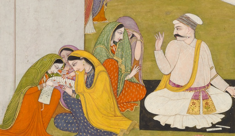 <div class=&#34;title&#34;><em>Uddhava consoling the Women of Braj - Page from a Bhagavata Purana series</em></div><div class=&#34;year&#34;> Guler, c. 1790, attributed to Ranjha</div><div class=&#34;medium&#34;>Opaque pigments and gold on paper</div><div class=&#34;dimensions&#34;>Folio: 24.7 &#215; 30.2 cm; Painting: 18 &#215; 25 cm</div>