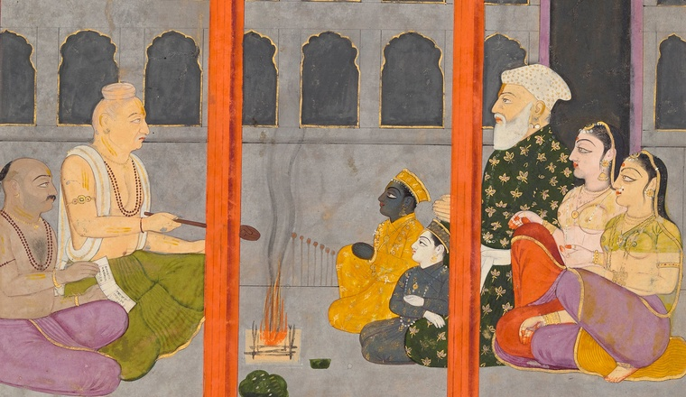 <div class=&#34;title&#34;><em>Garga performs the naming ceremony for Krishna and Balarama - Page from the &#8216;Large Guler&#8211;Basohli&#8217; Bhagavata Purana series</em></div><div class=&#34;year&#34;> Guler or Basohli, c. 1765, attributed to Fattu and workshop</div><div class=&#34;medium&#34;>Opaque watercolour with gold and silver on paper</div><div class=&#34;dimensions&#34;>Folio: 27.6 &#215; 38 cm; Painting: 23.5 &#215; 34.3 cm</div>