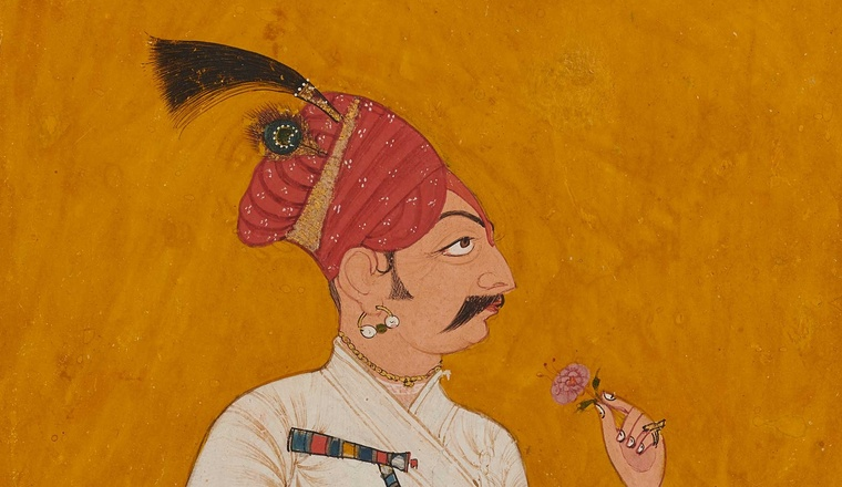"<div class=""title""><em>Courtier at the Mankot court</em></div><div class=""year""> Workshop of the Master at the Court of Mankot, c. 1700</div><div class=""dimensions"">Folio 27 × 15.2 cm; Painting 23.5 × 12.1 cm</div>"
