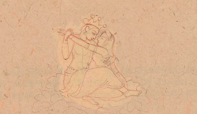 "<div class=""title""><em>Vishnu and Shri embracing</em></div><div class=""year""> Drawing from a set of preparatory drawings for the 'Second Guler' or 'Tehri-Garhwal' Gitagovinda Original outlines attributed to Nainsukh, c. 1765, with additions by his sons and nephews</div><div class=""dimensions"">Folio 19 × 28 cm</div>"