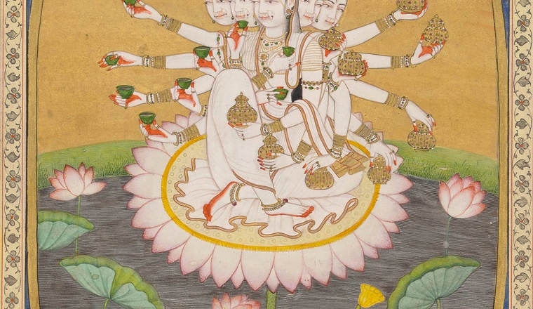 <div class=&#34;title&#34;><em>The Goddess Resplendent</em></div><div class=&#34;year&#34;> Kangra, c. 1810&#8211;20</div><div class=&#34;medium&#34;>Opaque pigments and gold on paper</div><div class=&#34;dimensions&#34;>Folio: 25.4 &#215; 18.5 cm; Painting: 19 &#215; 12.8 cm</div>